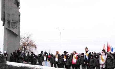 Участие студентов в городском мероприятии, посвящённом 77-ой годовщине Победы в Сталинградской битве.